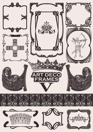 artdeco: Set Of Ancient Frames In Art-Deco Style