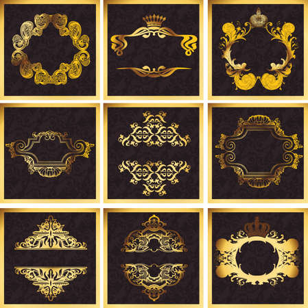 golden laurel wreath: Decorative Golden Ornate Quad Frames Illustration