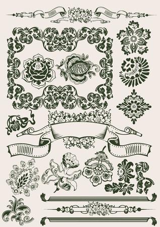 illustrate: One Color Flowers Vintage Clipart Illustration