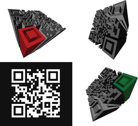 qrcode: Set Of Abstract 3D  QR-code Standing On A White Background.