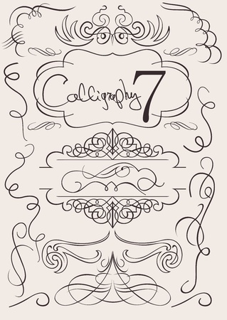set: calligraphic design elements and page decoration Illustration