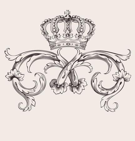 koninklijke kroon: Een Color Royal Crown Vintage Curves Banner