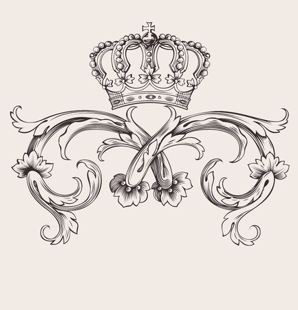 king crown: One Color Royal Crown Vintage Curves Banner Illustration