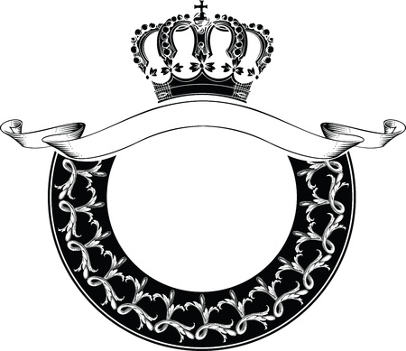 One Color Circle Royal Crown Composition Vector