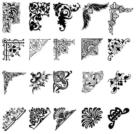 filigree background: Set Of Twenty One Color Corners  Elements Of Design  Illustration