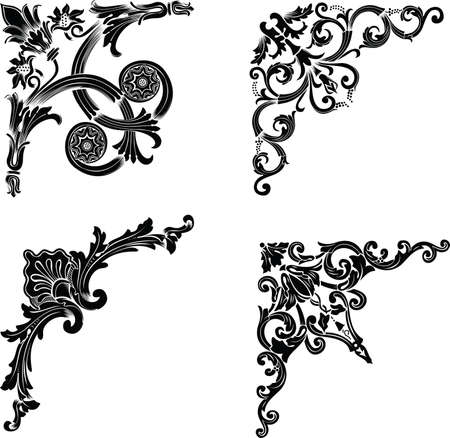 filigree background: Set Of Four One Color Corners. Elements Of Design. Illustration