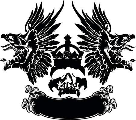 tattooing: One Color Eagle Wings Skull Symbol Emblem