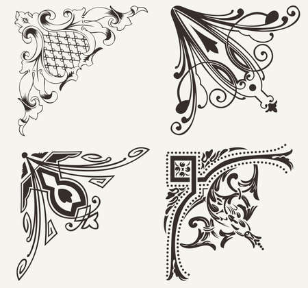 mirrored: Set Of Four Hogh Ornate Corners. Elements Of Design.