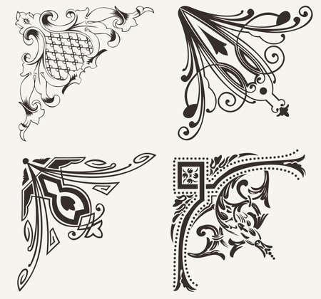 filigree: Set Van Vier Hogh Sierlijke Hoeken. Elementen van het ontwerp.