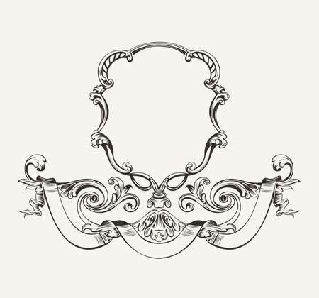 royal: Antique Luxury High Ornate Frame And Banner