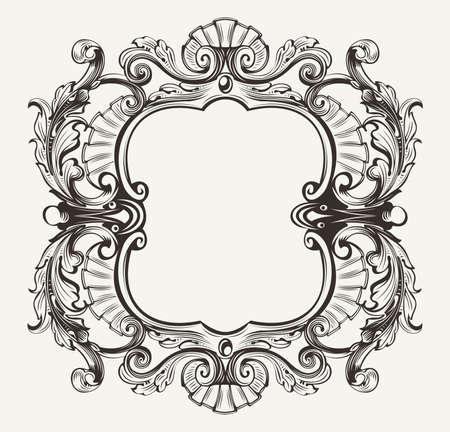 baroque ornament: Elegant Baroque Ornate Curves Engraving Frame