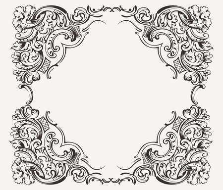 Old Vintage High Ornate Frame Vector