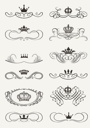elegant border: Victorian Scrolls and crown. Decorative Dividers. Vintage
