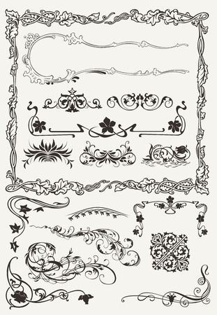 Collection of Ornamental Borders And Elements in Ancient Design styles Vector