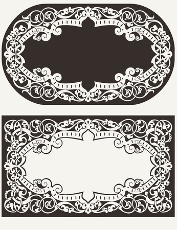 Two Vintage Ornate Frames Background Vector