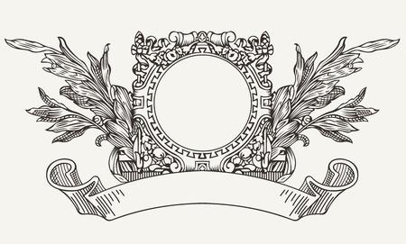 engraved: Vintage Ornate Wreath Aтв Scroll Banner