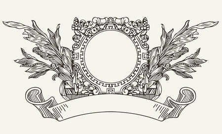 Vintage Ornate Wreath Aтв Scroll Banner Vector