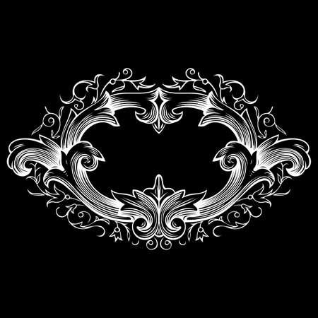ornamental shield: One Color Vintage Frame Illustration