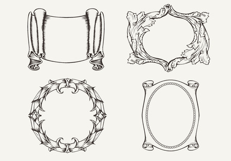 Set Of Four Ancient Banners And Frames Stock Vector - 22296365