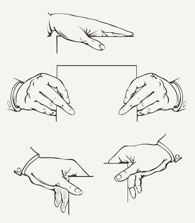 파악: 손의 집합입니다. 벡터 드로잉.