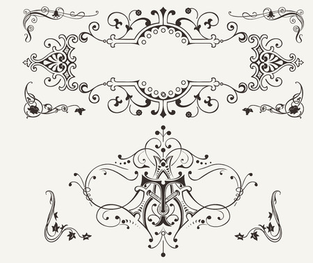 Set Of Vintage Curves Design Elements Vector