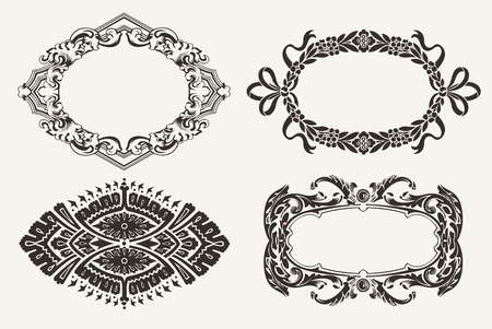 Set Of Four Ornate Frames Vector