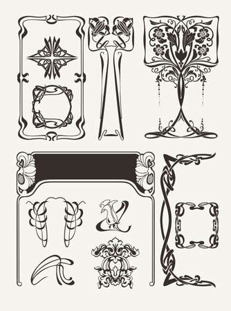 Set Of Vintagу Art Deco Design Elements Vector