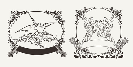 Set Of Two Romantic Doves Compositions Vector