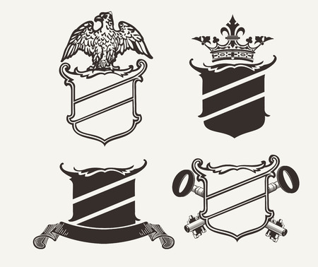 Set Of Four Shield Heraldry Compositions Vector
