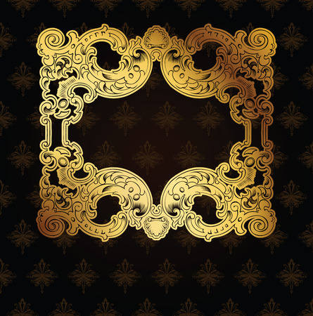 Gold Frame On Brown Ornate Background Vector