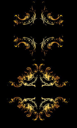Ornate Gold Curves On Black Vector