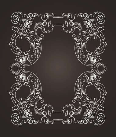 arabesque pattern: Ornate Frame On Dark Brown