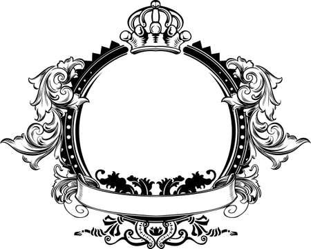 filigree: Een kleur Crown Vintage sierlijke curven teken  Stock Illustratie