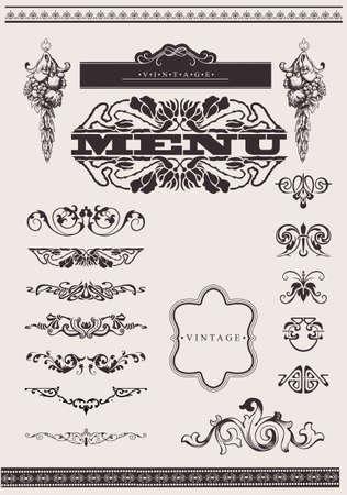 Ornato elementi di design e decorazione di pagina.  Vettoriali