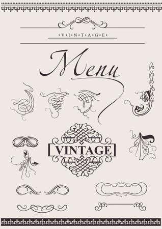 page divider: Set: Calligraphic Design Elements For Page Decoration Illustration