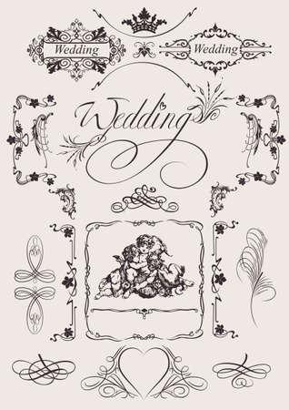 page decoration: Sierlijke elementen en Wedding pagina decoratie ontwerpen. Stock Illustratie