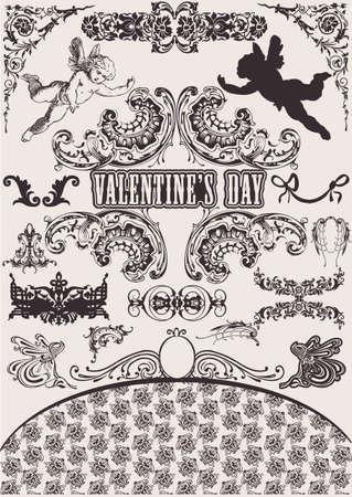 Set vettoriali. Elementi di Design di San Valentino. Elementi per pagina decorazione