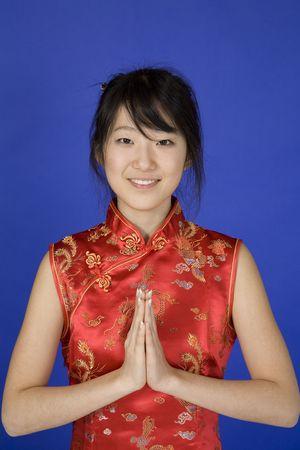 Model Release 363 Beautiful young Asian girl posing for a portrait wearing a China Dress photo