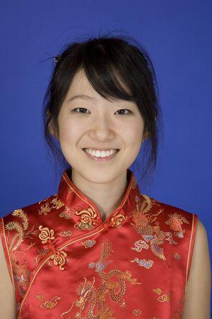 Model Release 363 Beautiful young Asian girl posing for a portrait wearing a China Dress