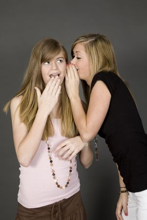 Teenage girls telling secrets posed in front of a gray background Stock Photo - 863102