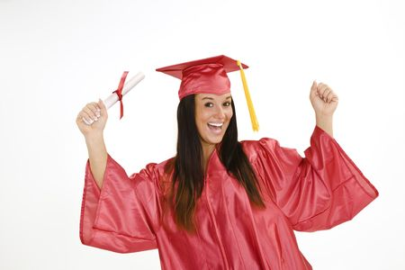 A female caucasian in red graduation gown and very excited.  She is on a white background.  photo