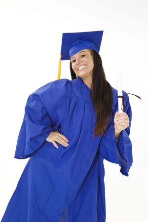 A female caucasian in navy blue graduation gown and very excited.  She is on a white background.  photo