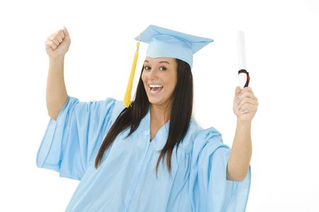 A female caucasian in light blue graduation gown and very excited.  She is on a white background.  photo