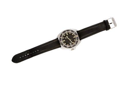 Mans worn wrist watch photographed on white backgrpund  photo