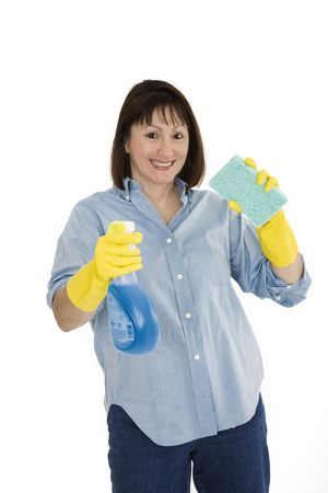 early 40s: Caucasian woman in early 40s with cleaning supplies on white background