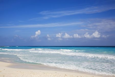 roo: The turquoise waters and white sand beaches of Cancun on the Yucatan Peninsula in Quintana Roo Mexico