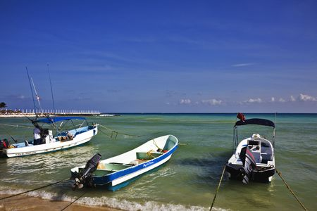 carmen: The turquoise waters and white sand beaches of Playa Del Carmen on the Yucatan Peninsula in Quintana Roo Mexico