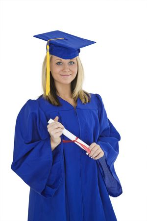 exuberant: A female caucasian with blond hair standing in blue graduation gown and smiling.  She is on a white background.
