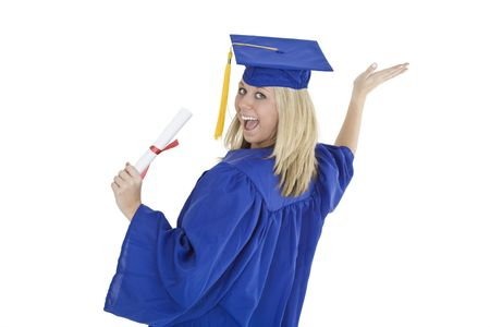 A female caucasian with blond hair standing in blue graduation gown and smiling.  She is on a white background.  photo