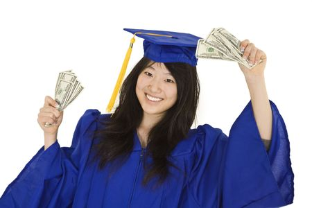 cost of education: An Asian teenage in blue graduation gown and smiling while hold US money to illustrate to high cost of education.  She is on a white background.